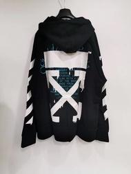 【Go時尚】Off white 新款 帽衫 OS版 箭頭 連帽T 大學T 黑藍配色