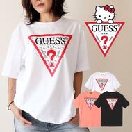 KUMO SHOES-現貨 GUESS x Hello Kitty PATTERN TRIANGLE LOGO TE 黑白 聯名款 倒三角 短T 男女可穿