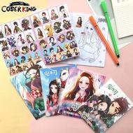 [COSER KING Store] สมุดระบายสีกราฟฟิตี้ สติ๊กเกอร์ลายการ์ตูน ดาบพิฆาตอสูร 2 ชิ้น Demon Slayer Kimetsu No Yaiba Anime Painting Note Books Pads