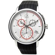 cK Drive  紳士風範紅圈三眼計時腕錶-白x黑錶帶/43mm