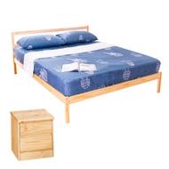 AS-頂級松木雙人床架二件房間組(床架DIY+床頭櫃)