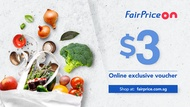 [FAIRPRICE ON] $3 Voucher NTUC FairPrice Online E-Voucher/SGD3 Off/Promo Code/Gift Voucher (Email)