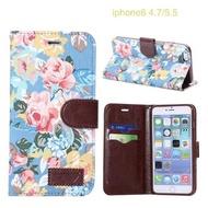【清倉】蘋果 iPhone 6s Plus 5.5吋花布紋支架插卡皮套 Apple 6 Plus / 6s Plus 側翻手機保護殼 保護套