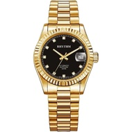 【RHYTHM 麗聲】尊爵晶鑽機械日期手錶-黑x金/40mm(RA1621S06)