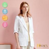 【MON'S】亞麻混紡休閒西裝外套
