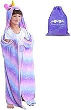 RIBANDS HOME Hooded Unicorn Blanket| Silky Soft Wearable Hoodie Blanket for Kids, Toddlers, Children| Animal Hoodie Cloak, Color Shown: Dreamlike Star