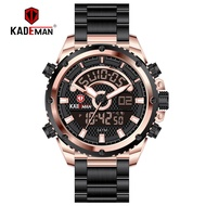 KADEMAN Men Sports Watches Luxury Dual Display Digital Wristwatch TOP Brand Fashion Stainless Steel  Male Watch