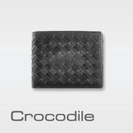 【Crocodile】鱷魚皮件 真皮皮夾 8卡 男夾0103-07305-黑咖兩色(Natural x Woven編織系列)