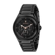 【Maserati 瑪莎拉蒂】沈穩黑三眼鋼帶腕錶(手錶 男錶)-R8873639003-台灣總代理公司貨-原廠保固兩年