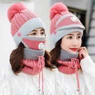 【現貨防風面罩】❆☄【防風】三件套騎車帽子女冬天毛線針織帽加絨加厚防風防寒護耳圍脖保暖