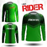 Grab it now  rider t shirt. เสื้อสีเขียว เสื้อยืดแขนยาวผู้ชาย เสื้อขี่มอไซด์ เสื้อ เสื้อBIKER เสื้อยืดผู้ชาย