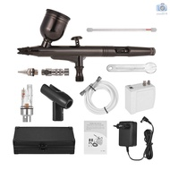Professional Airbrush Set Multi-Purpose Airbrushing System Kit with Portable Mini Air Compressor Gravity Feed Dual-Actio