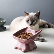 貓形斜口高腳寵物碗紫色