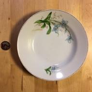 【米倉】 二手老件道具古董收藏瓷器 早期大同 蘭花圖案瓷盤/盤子
