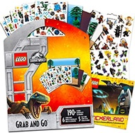 Lego Jurassic World & Batman Stickers Party Supplies Set ~ 12 Lego Batman & Lego Jurassic Park Party Favors Sheets (300+ Stickers)