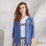 【MON'S】度假風鏤空蕾絲亞麻外套(100%亞麻)