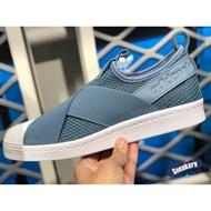 「plus+」ADIDAS ORIGINALS SUPERSTAR SLIP ON W 藍色 繃帶鞋 襪套 AQ0869