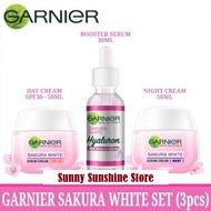 Paket GARNIER Sakura White Set 3 Pcs - Booster Serum 30ml + Krim Siang 50ml + Krim Malam 50ml