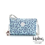 【KIPLING】典雅淡藍小花雙內袋斜背小包-MIKAELA