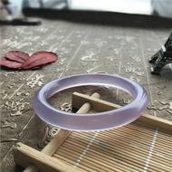 巴西純天然紫玉髓手鐲冰透紫羅蘭圓條玉髓女款手鐲