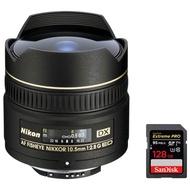 Nikon (2148) 10.5MM F / 2.8g ed-ifaf DX魚眼レンズレンズ+ SanDisk Extreme Pro SDXCメモリカード128GB UHS - 1