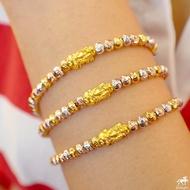 ข้อมือปี่เซียะทองแท้ 99.99% สายเงินแท้ 3 กษัตริย์ น้ำหนักทอง 0.1 - 0.15 กรัม ทองคำแท้ 99.99% (24K) ยาว 15 -18 cm