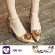 【iRurus 路絲時尚】韓系氣質花朵繫踝低跟涼鞋/2色/35-42碼 (RX1121-X99)