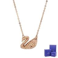 【SWAROVSKI 施華洛世奇】Iconic Swan天鵝造型水晶玫瑰金色項鍊(5368988)