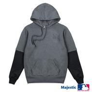 MLB-道奇隊拼接袖印字帽T-深麻灰 (男)