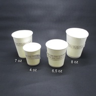 Hot Paper Cup 6.5 Oz White Paper Glass Contents 50