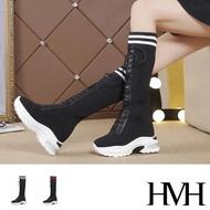 【HMH】厚底長靴 內增高長靴/運動風彈力飛織襪套造型內增高厚底長靴(2色任選)