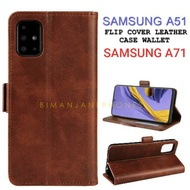 Samsung A51 - Samsung A71 Flip Cover Leather Case Wallet - Kesing Leather Wallet