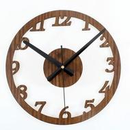 簡約數字圓圈DIY掛鐘牆面時鐘錶(桃木頭色)