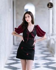 เสื้อผ้าแบรนด์แท้: BLT BRAND ชุดเดรสแขนพอง สีแดงดำ เหลือแต่ Size XS1L1 ชุดเท่านั้น