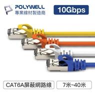 POLYWELL CAT6A 高速網路線 7米~40米 10Gbps 網路線 RJ45 福祿克認證 寶利威爾 台灣現貨