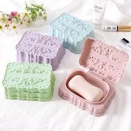 tvbuy5熱銷現貨!浴室衛生間塑料皂盒瀝水帶蓋創意薔薇雕花香皂盒肥皂盒手工皂托