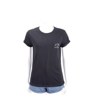 KARL LAGERFELD 刺繡字母標誌口袋黑色短袖T恤
