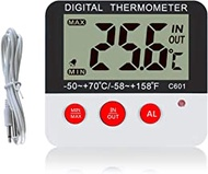 Fridge Thermometer Refrigerator Thermometer Digital Freezer Room Thermometer Fridge Freezer Thermometer with Hi Lo Alarm and Max Min Memory