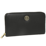 Tory Burch Black Pink Plain Anti-scratch Leather Zipper Long Wallet