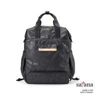 【satana】MammaMia 風格後背包(黑麻花壓迷彩色)