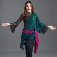Belly Dance Shawl Women's Oriental Sequins Waist Towel