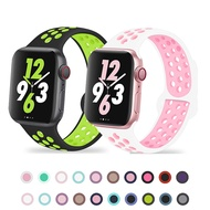 Silicone Strap For Apple Watch Band 44mm 40mm iWatch Band 42mm 38mm Rubber Breathable Bracelet for Apple Watch Series 3 4 5 SE 6