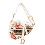 Dior 花卉刺繡帆布 中款Saddle 馬鞍包