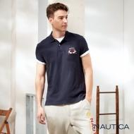 Nautica經典款透氣短袖POLO衫-深藍