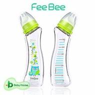 [ Baby House ] FeeBee 彎角玻璃奶瓶 240ml - 親子貓頭鷹 彎角 類Betta 防脹氣 《買2、6枝 贈好禮》 【愛兒房生活館】