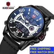 KADEMAN K6171 Watch Men Waterproof Business Strap Leather sports calender luminous Men Watch Jam Tangan lelaki Original