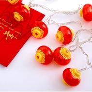 【璀璨瞬間】LED串燈 紅燈籠 春節 新年 展場 舞台 庭園佈置 電池款(3M 20顆暖色燈)