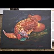 Lukisan Ikan Arwana Red Super Detail