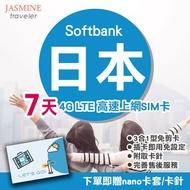 【超取免運】日本神卡 7天 4G不降速吃到飽 SoftBank 送卡套取卡針 4G 高速上網卡 SIM卡 現貨寄出