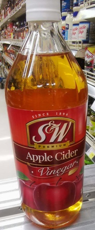 น้ำส้มสายชูหมัก แอปเปิ้ลไซเดอร์ S&W Premium Apple Cider Vinegar ขนาด 946 ml. (สินค้าพร้อมส่ง) Product of USA